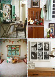 That 3rd image is my favorite. It's cute and delicate, the old window is very charming and sweet. All of the dreamers in this world deserve a bedroom like that.