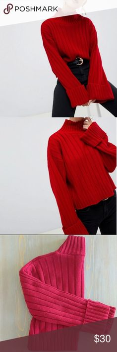 """12-16 Womens Trendy oversized sweater with sequins /""""love/""""  red one size"""