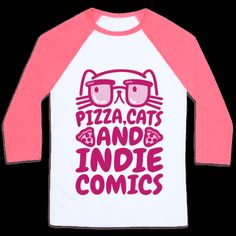 Pizza, cats and indie comics, go hand in hand! Live out your alternative and nerdy lifestyle and show off how much you love pizza, cats and comics with this nerdy and funny, cats and comics t shirt! | HUMAN