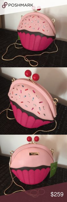 """Kate Spade Cupcake Crossbody Take the Cake purse Kate Spade Cupcake Crossbody purse. Take the Cake bag. leather. 7"""" height X 8.5"""" Width X 4"""" Depth. 22"""" strap drop. Fun Collectible Bag. Cupcake shape with colorful beaded sprinkles. Kiss lock cherries closure. 14k gold plated hardware. Platform bottom. Signature lining. Care card included. kate spade Bags Crossbody Bags"""