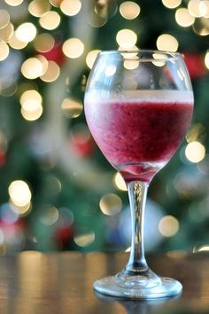 Wine smoothie - A bag of frozen fruit and blend it with 1 cup of white wine, great for a hot summer day...I will need this after working in the hot sun ya know..lol