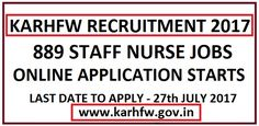 KARHFW Recruitment 2017 Apply Online 889 Staff Nurse Jobs