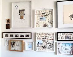 A beach memory gallery wall with shells in frames and other findings: http://www.completely-coastal.com/2015/03/coastal-nautical-cool-gallery-wall-ideas.html