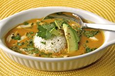 Curried Coconut Pumpkin Soup w/ Chicken and Jasmine Rice. This sounds delicious