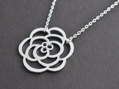 SALE, Rose necklace, Pendant, Silver necklace, Wedding necklace, Flower necklace, Cocktail jewelry, Mother's Day Gift, Gold necklace