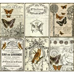 INSTANT DOWNLOAD diGitaL cOllaGe Sheets diGitAl Downloads Vintage Ephemera Owl Butterflies Printable Vintage Labels French Scripts, No. 77
