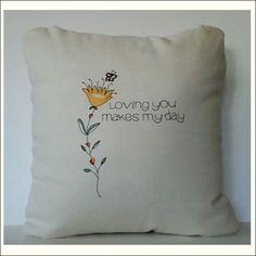 """$58.00 Original Robin Ball Designs Pillow Collection. Flower Pillow Whimsical Artwork, Handmade Embroidered Pillow, 18""""x18"""" with Faux Down Insert with Invisible Zipper. Perfect Gift for Family or Friend. FREE SHIPPING"""