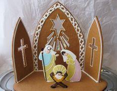Gingerbread nativity scene. Patterns: http://ebetys.blogspot.fi/2012/11/seimi.html