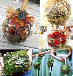 DIY your own rustic twig ball bouquet. Would also make a super cute hanging garden/porch decoration.