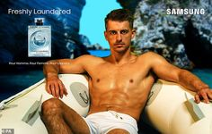 Smouldering: Maz Whitlock put on a very hunky display as he posed up a storm for some spoo... Samsung, Max Whitlock, Perfume Ad, Man Crush, Put On, Gymnastics, Olympics, Crushes, Display