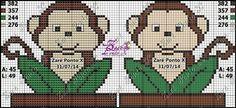 9 Cross Stitch Baby, Cross Stitch Charts, Cross Stitch Designs, Cross Stitch Patterns, Canvas Patterns, Baby Patterns, Monkey Crafts, Graph Design, C2c Crochet