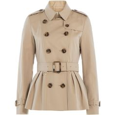 Burberry London Cotton Gabardine Trench found on Polyvore featuring outerwear, coats, jackets, coats & jackets, tops, brown, cotton coat, burberry coat, belted coat and double breasted trench coat