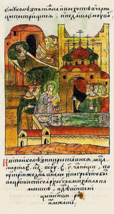 1462.Facial Chronicle-b.15, p.026-Burials of Vasily II.И от той болезни преставился он месяца марта в 27 день, в субботу,в три часа ночи, под утро,в воскресенье,и погребен был в церкви св.архангела Михаила в Москве,где все великие князья,род их,лежат.