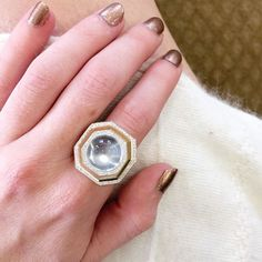 Moonstone moments in this moonstone and diamond ring by Ricardo Basta