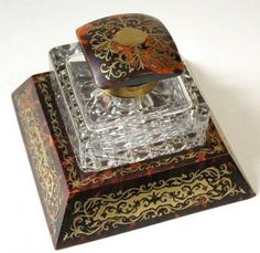 Collectibles - French Boulle Inkwell Crystal Glass | MALLERIES