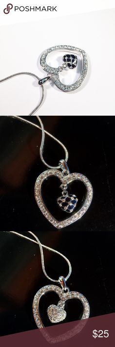 Hearts pendant with necklace  Very pretty heart shape pendant, small heart inside has to side Crystal. (Swarovski element Crystal) Jewelry Necklaces