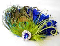 Wedding Feather Hair Accessories, Feather Fascinator, Bridal, Hair Piece, Peacock, Cobalt Blue, Green, Hair Clip, 1920s, Gatsby