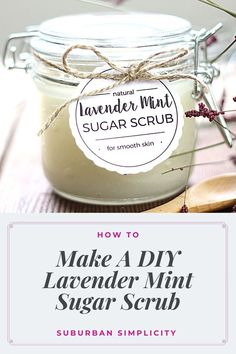 Lavender Mint Sugar Scrub is the perfect way to pamper your skin. This easy DIY recipe is inexpensive, comes together in minutes and smells absolutely amazing! Made with all natural ingredients like coconut oil and essentials oils. Use as a face or body scrub. Sugar Scrub Homemade, Sugar Scrub Recipe, Homemade Spa Treatments, Homemade Facials, Lavender Sugar Scrub, Diy Body Scrub, Diy Recipe, Essential Oil Blends, Essential Oils