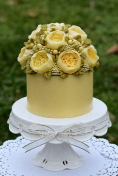 buttercream cake with floral arrangement