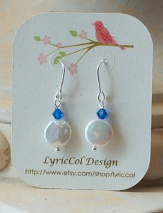 Capri Blue Pearl Earring by lyriccol on Etsy, $15.00