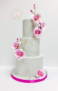 Marble and orchid - Cake by Imperial cake Orchid Wedding Cake, Orchid Cake, Cool Wedding Cakes, Elegant Wedding Cakes, Wedding Cake Designs, Wedding Cake Toppers, Mom Cake, Just Cakes, Sugar Flowers