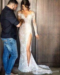2016 New Vintage Steven Khalil Full Lace Split Mermaid Wedding Dresses with Long Sleeve Illusion Back Arabic Trumpet Wedding Gowns