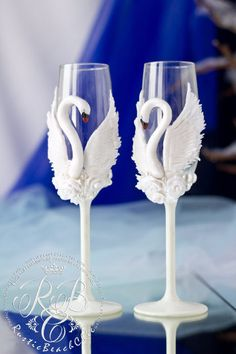 White Swans wedding glasses  toasting glasses  by RusticBeachChic