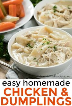 This is our absolute favorite chicken and dumplings recipe! Tender dumplings made from scratch and simmered in a flavorful chicken broth.