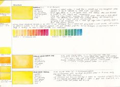Mid Yellows I have added all the yellows to my website here . It is common to have a few yellows in a palette. Traditionally, a cool a. Watercolor Mixing, Watercolor Sketchbook, Watercolor Tips, Watercolour Tutorials, Watercolor Techniques, Art Techniques, Watercolour Palette, Watercolour Painting, Color Mixing Chart