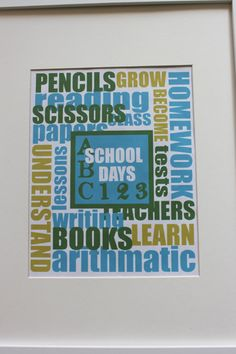 School Days Printable - This will make a great Back to School gift!