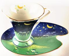 Chacult cup & saucer Magic Moon, Blue