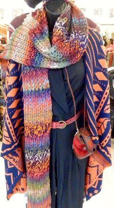 Multi-colored long knit scarf and blue, orange and red sweater jacket - Zebop Shop