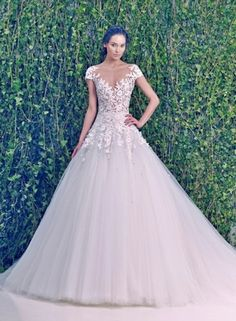 Zuhair Murad :: V-Neck A-Line Wedding Dress with Dropped Waist in Tulle. Bridal Gown Style Number:32942609