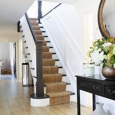 Lydia Elise Millen's staircase Hallway Ideas Entrance Narrow, House Entrance, Entryway, Victorian Hallway, Flur Design, Small Hallways, Hallway Designs, Painted Stairs, House Stairs