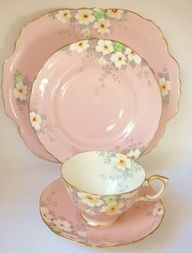 Staffordshire English Vintage China Tea set tea cup trio & Cake Plate Pink I want to get a couple different sets like this. I love the pinks, blues, and yellow.