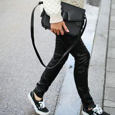Black leather pants via all-essentials.com