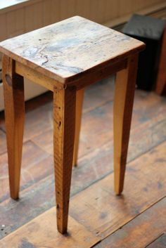 Reclaimed pine end table individually constructed and handmade in Vermont