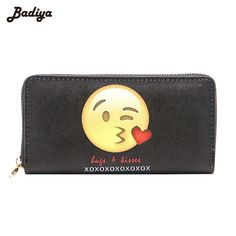 Kiss Heart Expression Printing Women Wallet Zipper Design Clutch Purse For Woman PU Leather Ladies Phone Holder Card Holder