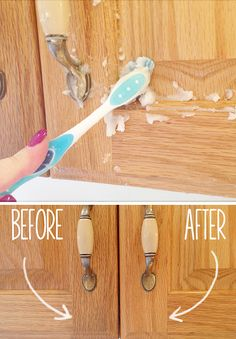 Use one part vegetable oil to two parts baking soda.  Mix.  Use sponge, cloth, or toothbrush to scrub cabinets.