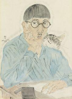 藤田嗣治 自画像(日本) Fujita Tsuguharu(JPN) Self-portrait with cat