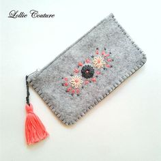 Your place to buy and sell all things handmade Felt Wallet, Felt Purse, Embroidery Purse, Embroidery Patterns, Handmade Felt, Handmade Shop, Father's Day Unique Gifts, Felt Gifts, Hand Embroidery Tutorial