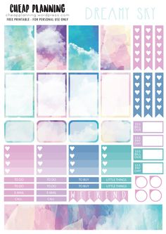 Free Printable Dreamy Sky Planner Stickers from Cheap Planning Planner 2018, To Do Planner, Day Planners, Planner Pages, Blog Planner, College Planner, College Tips, Weekly Planner, Planner Diy