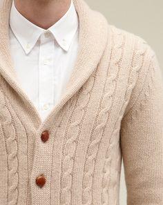 Shawl-collar cable knit cardigan