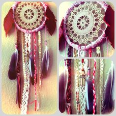 Pink Velvet Dream Catcher w Vintage Lace & FREE by RachaelRiceArt