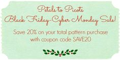 Make it a handmade holiday this year with Petals to Picots Patterns. Get 20% off your total pattern purchase from Petals to Picots during my Black Friday through Cyber Monday Sale.  Just use coupon code SAVE20 when ordering. Coupon valid from 11/28/14 through 12/5/14.