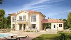 The mediterranean villa Aurelio of Kern-Haus is an absolute dream house. A living area of m² Luxury Apartments, Luxury Homes, 2 Bedroom House Plans, Local Architects, Decoration Inspiration, Modern Country, Exterior Design, Grey Exterior, Porches