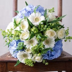 bride bouquet of forget me knots, hydrangeas and daisies - Google Search