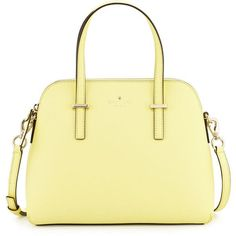 kate spade new york cedar street maise satchel bag (1 135 PLN) ❤ liked on Polyvore featuring bags, handbags, lemonade, leather satchel handbags, leather hand bags, genuine leather handbags, kate spade and beige leather purse