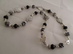 Black and White Beaded Necklace by OnPurposeArtifacts on Etsy, $26.00