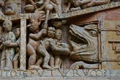Sinners being fed into the maw of hell (Photo by PJ McKey) Romanesque Sculpture, Romanesque Art, Historical Architecture, Art And Architecture, Sainte Foy De Conques, Graven Images, Ancient Goddesses, Architectural Sculpture, Roman Art